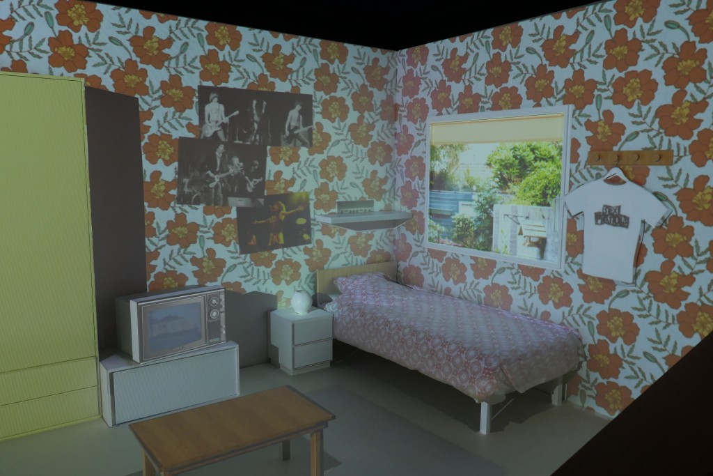 videomapped bedroom with punk theme from the period 1975-1979