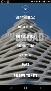 Broad app main menu