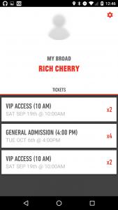 Broad app ticket list screen