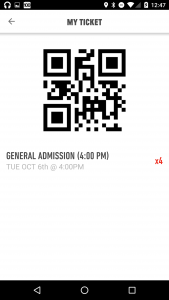 Broad app ticket screen
