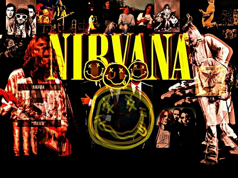 Compilation image of the band Nirvana, with smileys