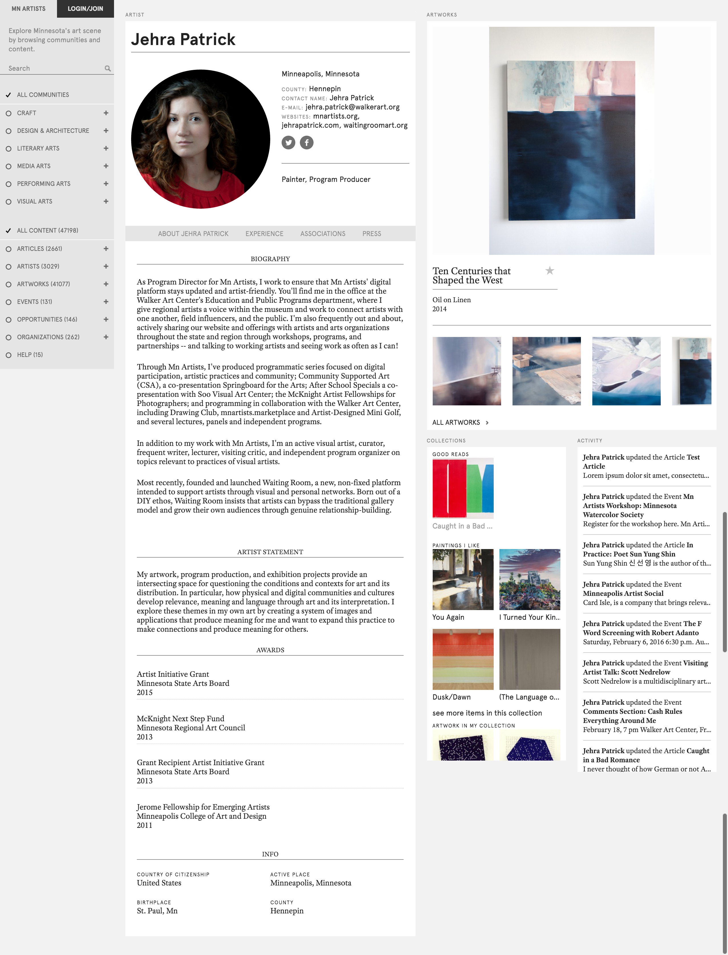 Figure 5: Mn Artists artist profile, featuring artwork, personal information, connectivity with social media profiles, personal collections, and dynamic activity feed