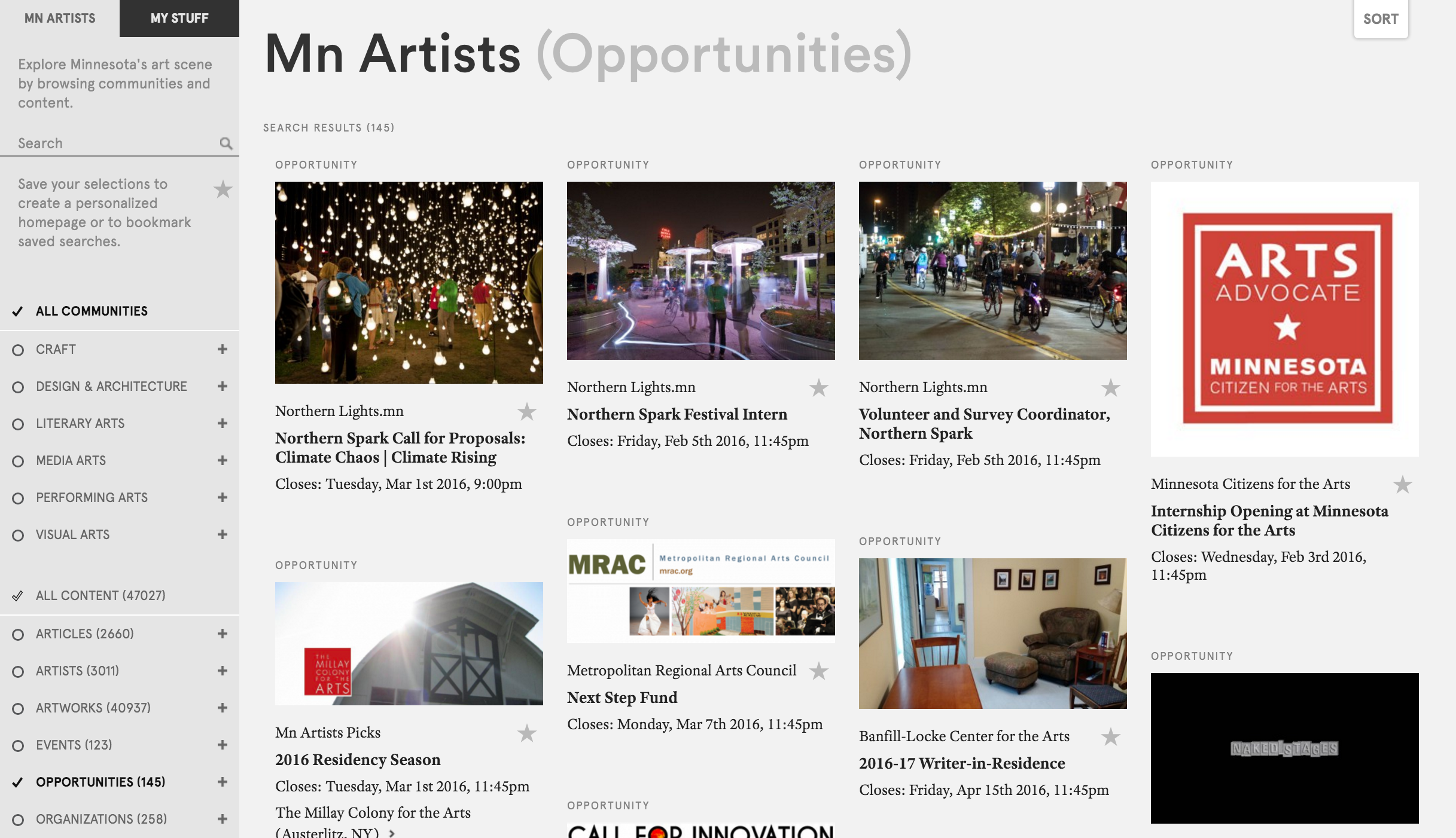 "Figure 6: Mn Artists, content filtered by ""Opportunities"""