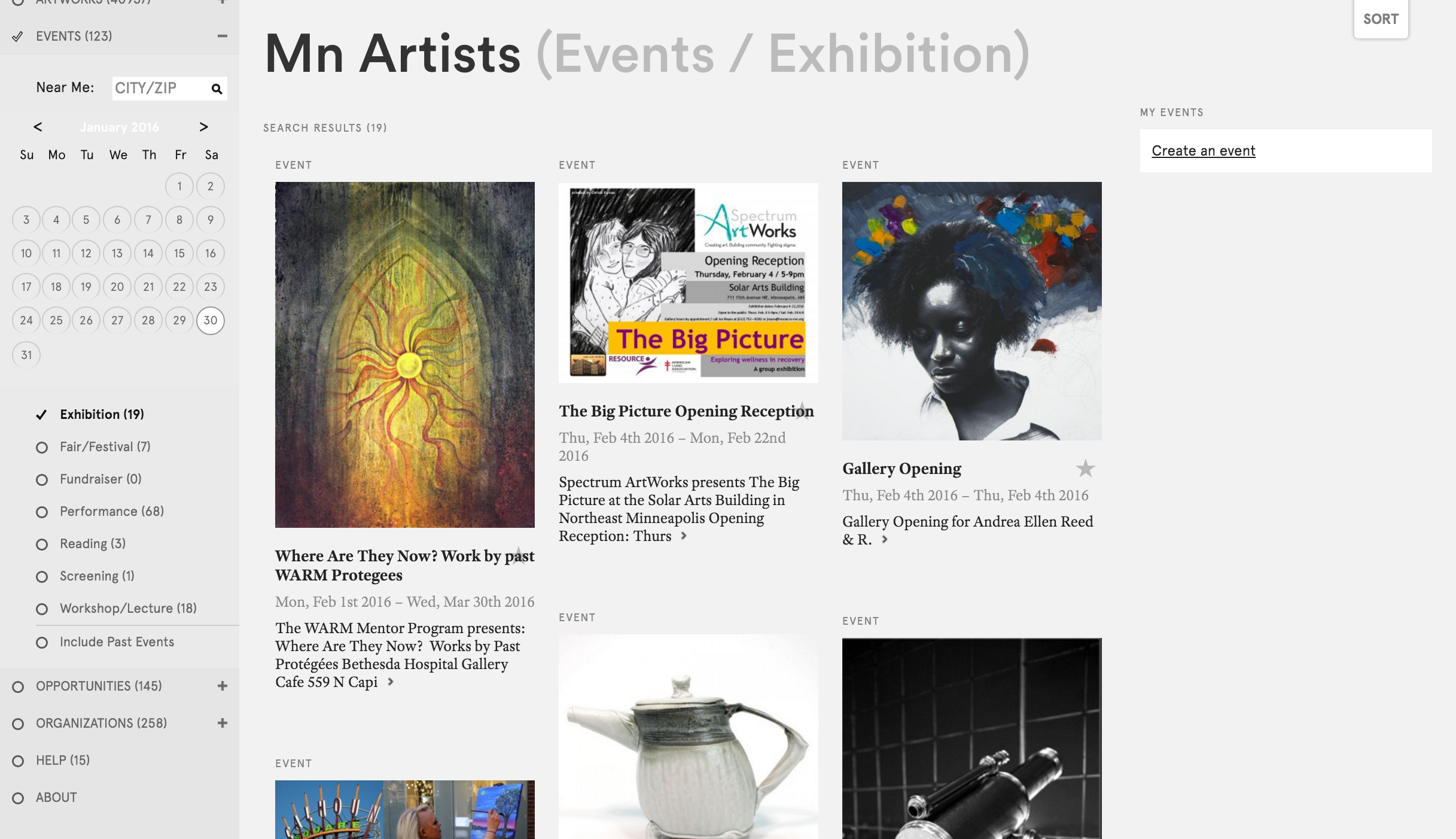 "Figure 7: Mn Artists, content filtered by ""Events"" and ""Exhibitions"""