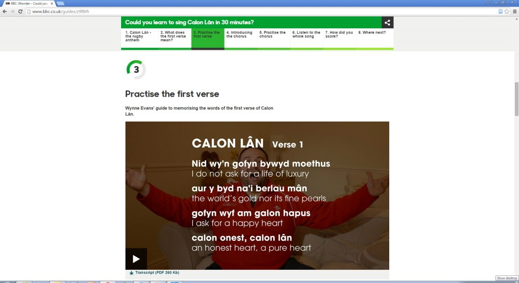 Figure 6. Educational: Learn to sing Welsh rugby anthem Calon Lân with the BBC's iWonder.