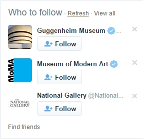 Guggenheim's avatar is immediately recognized. MoMA's logo is visually strong but National Gallery's is almost invisible on this piece suggesting museums to follow on Twitter.