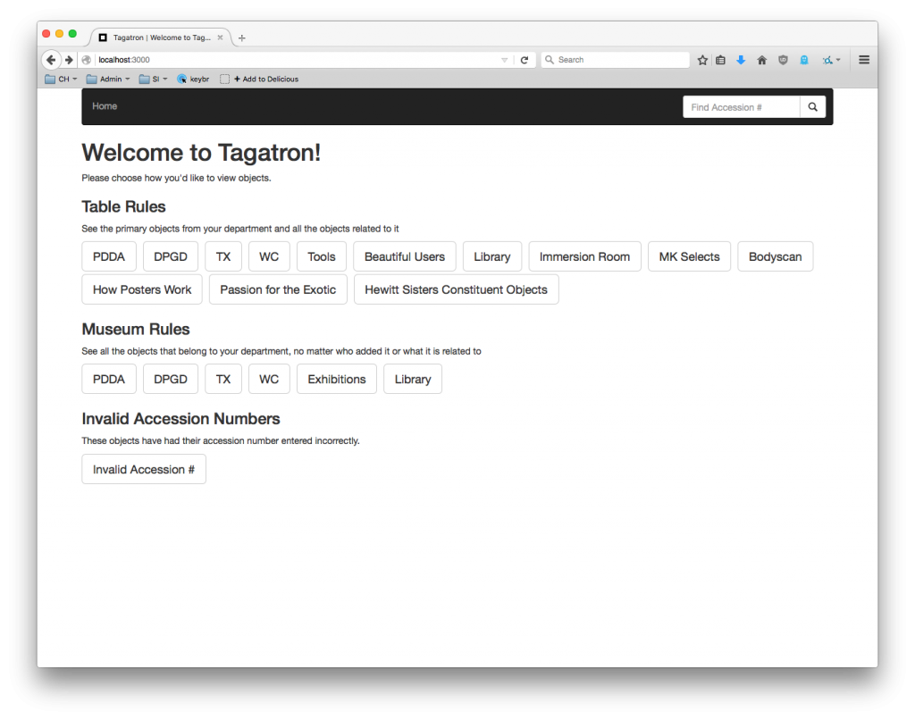 Figure 6: The Tagatron homepage after further iterations, showing expanded filters and search functionality
