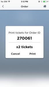 Ticketing app ticket record print