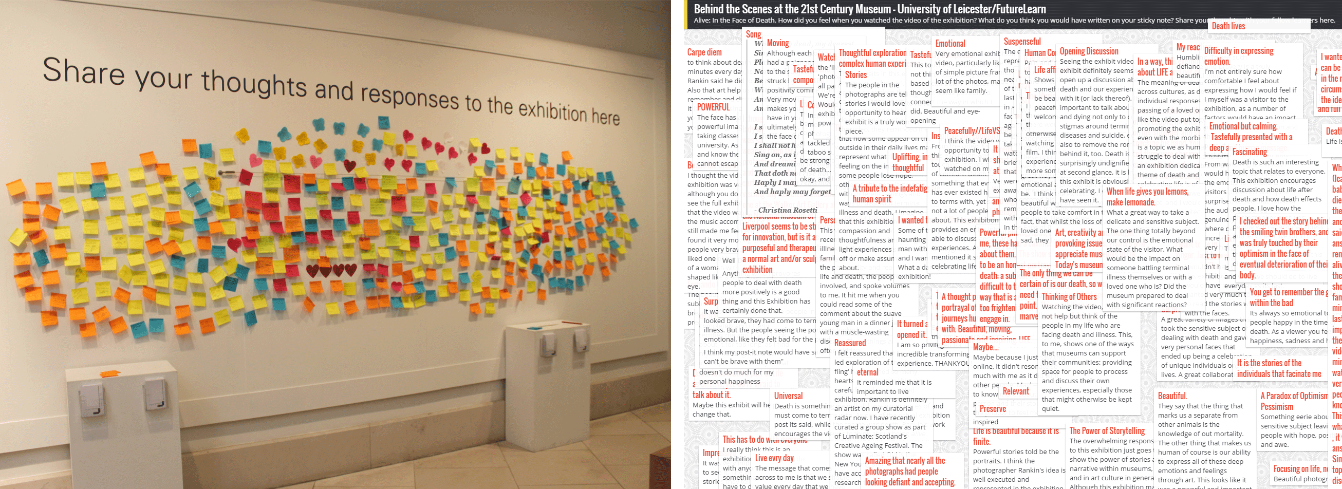 Image showing the MOOC 'online wall' of participants comments mirroring the 'physical wall' of visitor comments at the Walker Art Gallery, Liverpool.