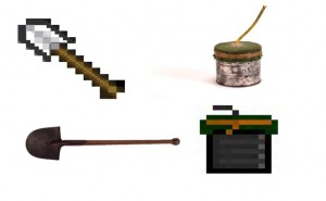 Figure: Minecraft renditions of real collection objects that were used in the game and the exhibition