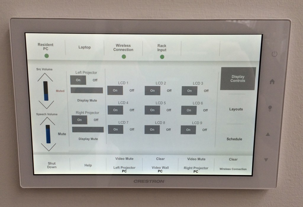 Figure 11 – The in-gallery control touch panel