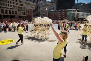 Strandbeest released on the grounds of Boston City Hall.