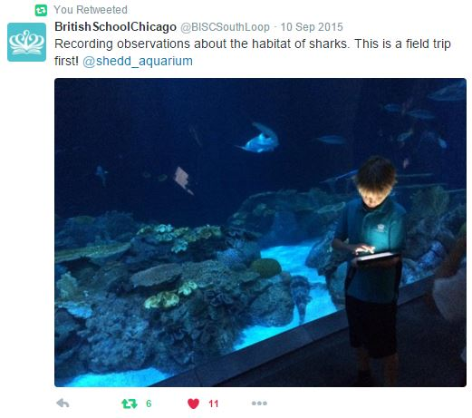 "Tweet: picture of a student using an iPad in front of a large coral reef exhibit. ""Recording observations about the habitat of sharks. This is a field trip first."""