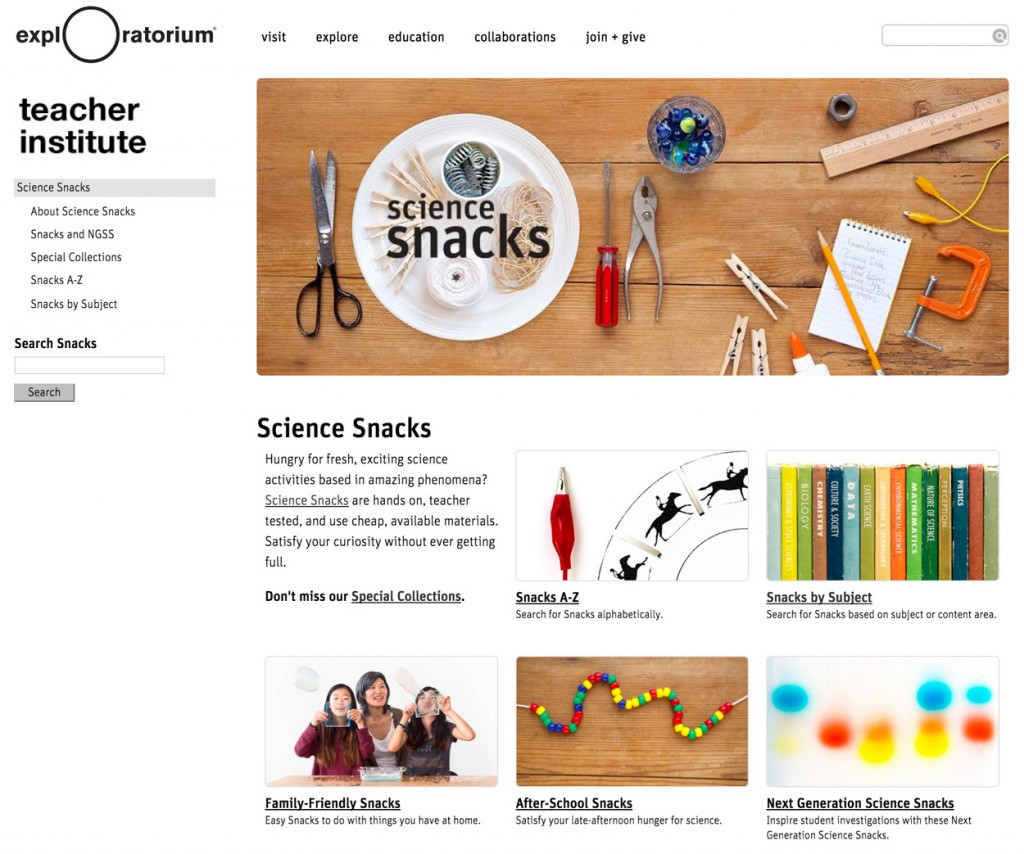 Science Snacks home page