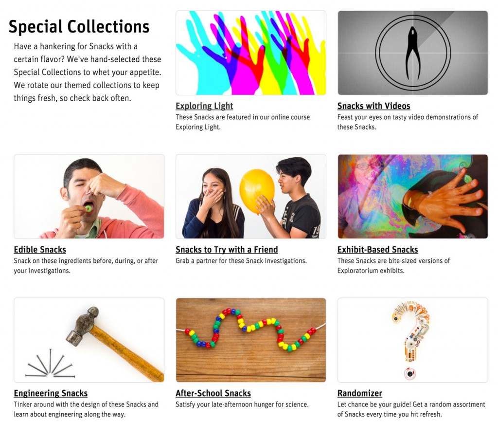 Science Snacks Special Collections landing page