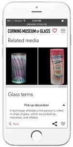 Related media shows photos that help put the artwork in context, as well as other works by the artist, and Glass Terms define techniques and other glassmaking terms.