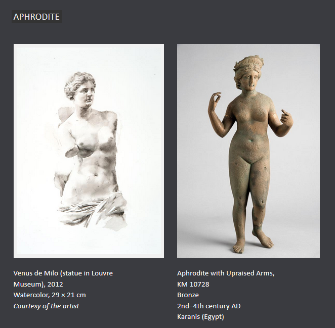 Painting of Venus and statuette of Aphrodite with upraised arms